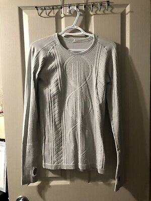 $ CDN49 • Buy Lululemon Rest Less White Pullover Textured Cable Long Sleeve Top Shirt 4 EUC