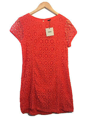 AU19 • Buy Asos Size 16 Orange Floral Lace Short Sleeve Dress BNWT Summer Party Casual