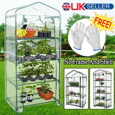 3/4/5 Tiers Mini Greenhouse Cover Walk In Grow Bag Garden Plant Shed Tunnel PVC • 7.99£