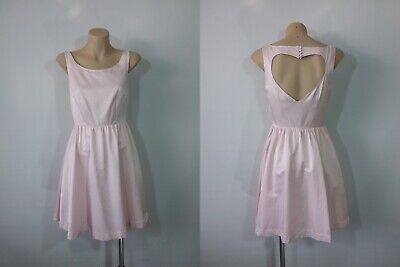 AU35 • Buy Forever New Size 6 Pink Satin Fit & Flare Dress With Back Love Heart Cut Out