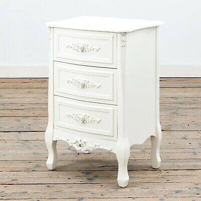 Rose Ornate French Antique White Cream 3-drawer Bedside Lamp Table • 145£