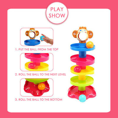 Ball Drop Toy Tower Roll Swirling Tower Stack Drop And Go Ramp Toy Set Kit U9K4 • 9.98£