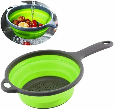 Silicone Colander Collapsible Food Strainer Basket With Handle Drain Water BPA X • 7.45£