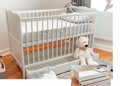 £109.99 • Buy Baby Cot Bed 120x60cm With Sprung Or Foam Mattress And Optional Bedding & Drawer
