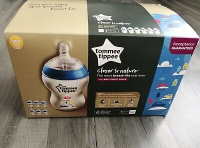 Tommee Tippee Closer To Nature 6X Bottles With Anti-Colic Valve Blue Cars Design • 19.99£