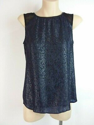 AU18 • Buy FOREVER NEW Dark Blue Patterned Fabric & Mesh Glitter Top Blouse Size 8 Party