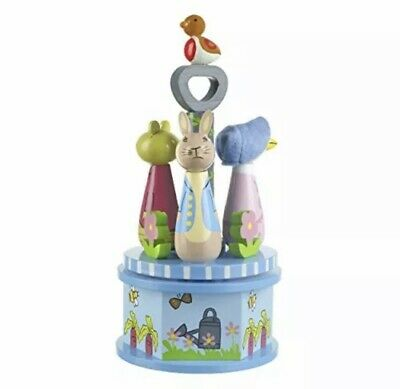 Beatrix Potter Peter Rabbit Wooden Turning Toy Musical Carousel Collectable • 25£
