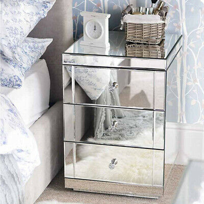 £117.99 • Buy Mirrored Glass Bedside Table Storage Cabinet Unit Nightstand Chest Of 3 Drawers