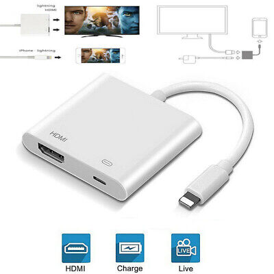 1080P For IPhone To HDMI HD TV Projector Converter Adapter For Apple IPad IOS UK • 9.79£