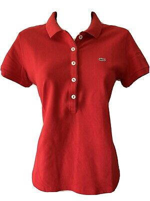 Women's Lacoste Short Sleeve Polo Shirt Top Red Size 42 UK 12-14 • 16.50£