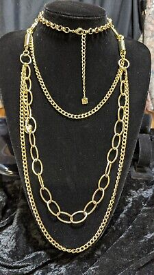 AU12 • Buy Gold Tone Long Layered Chain Necklace .Y37