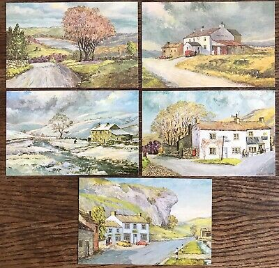 5 Postcards Local Yorkshire Scenes From Original Paintings By E Charlton Taylor • 4£