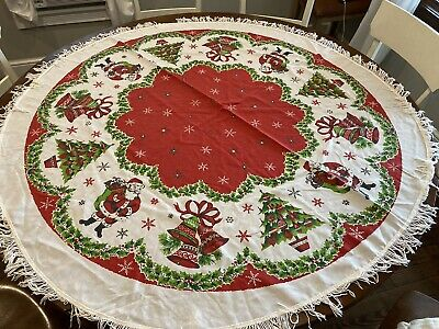 "$ CDN181.96 • Buy Beautiful Vintage Christmas 55"" Circle Tablecloth Santa Bells Christmas Tree"
