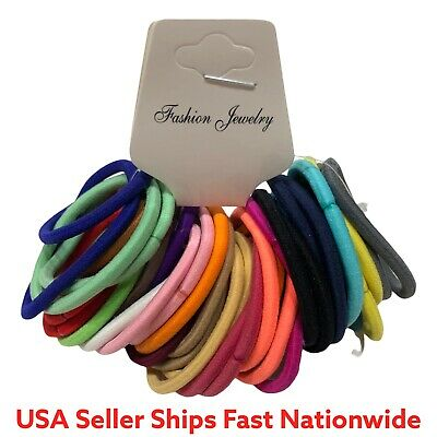 $4.99 • Buy 48pcs Multi Color Hair Ties Scrunchies Kids/Adults Hair Bands Ponytail USA