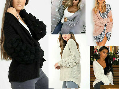 Women's Ladies Bubble Bobble Sleeve Knitted Cardigan Chunky Knit Jumper Jacket. • 14.99£