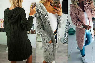 Women Ladies Chunky Cable Knitted Oversized Long Hooded Jumper Cape Cardigan Top • 19.99£