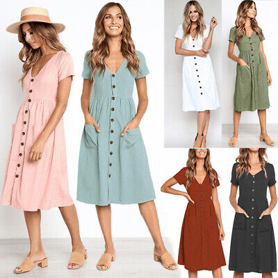 AU9.99 • Buy Women Long Midi V-neck Button Pocket A-line Short Sleeve Solid Plain Dress AU