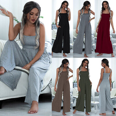 Womens Wide Leg Harem Pants Baggy Jumpsuit Trousers Summer Playsuits Romper UK • 13.58£