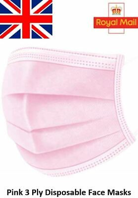 Pink Disposable 3 Ply Face Masks Surgical Medical Premium Quality Face Covers • 10.49£