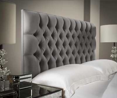 36 TALL Chesterfield Design Headboard In PLUSH VELVET Fabric With Fabric Buttons • 74.99£