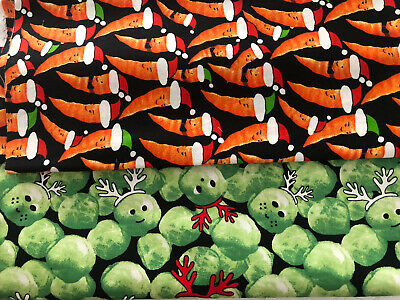 Two Half Metres Of Festive Brussels Sprouts And Carrots Cotton Christmas Fabric • 2.60£