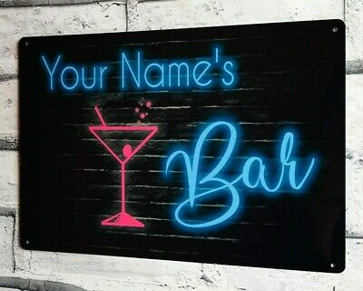 £8.95 • Buy Bar Sign Neon Style Personalised Home Bar Pub Shed Garage Large Metal Sign