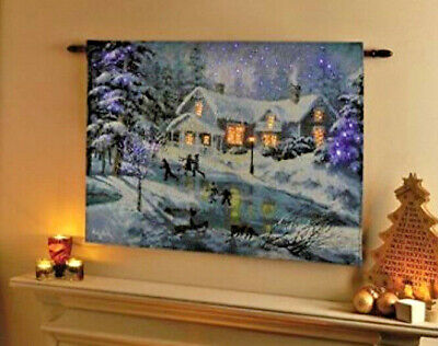 LED Fibre Optic Wall Tapestry Light Up Christmas Decoration Winters Scene  • 19.99£