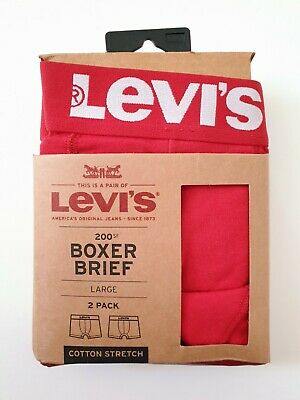 New Authentic Levi's 200sf Series 2x Boxer Brief Shorts Red Large Cotton Stretch • 19.99£