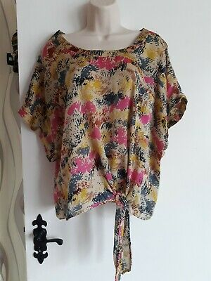 **uk 20** Tie Front Colourful Top Blouse • 3.50£