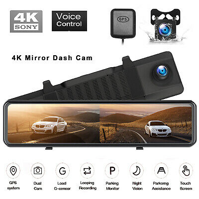 AU156.39 • Buy GPS 4K Mirror Dash Cam Backup Camera For Cars Voice Control TOGUARD Touch Screen