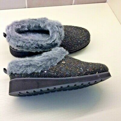 BOBS SKECHERS Memory Foam Fur Lined Brown/Grey Mules/Slippers UNWORN UK 6 • 24.99£