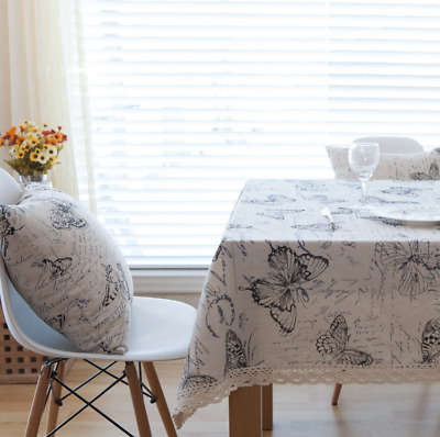Butterfly Printed Tablecloth Rectangle Cotton Linen Table Cloth Cover Home Decor • 10.49£
