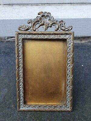 """Vintage French Rococo Style  Brass Front Photo Picture Frame 3"""" W X 5 1/4  D • 39.95£"""