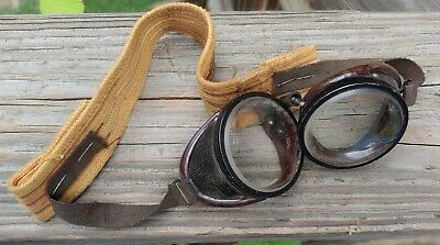 $35 • Buy Vintage Safety Motorcycle Goggles Welding Glasses Steampunk Antique Strap 1950s