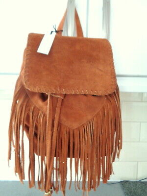 New Corder London Brown Tan Real Suede Leather Fringed Backpack Rucksack Bag • 18.50£