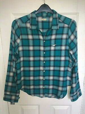 Women's Hollister Blue Checked Shirt - Ladies Size Large • 3.99£