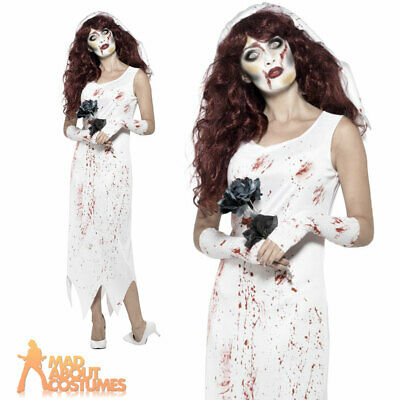 Adults Zombie Bride Costume Halloween Horror Ladies Womens Fancy Dress Outfit • 10.99£