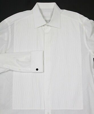 Brioni White Pleated Front Tuxedo French Cuff Formal Dress Shirt (41) 16-35 • 75.12£