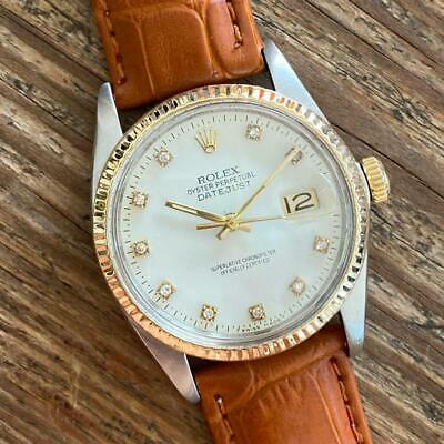 $ CDN3625.05 • Buy Rolex Datejust 16013 Stainless Steel Gold Vintage Genuine Watch Diamond Dial