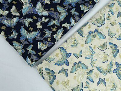 £7.87 • Buy Japanese Style Bronze Butterfly Printed Cotton Fabric 150cm Wide By Meter