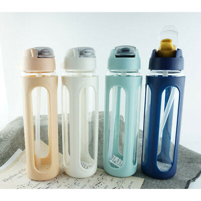 Water Bottle With Straw Glass BPA Free Leakproof Sports Portable Drinks Mugs • 12.99£