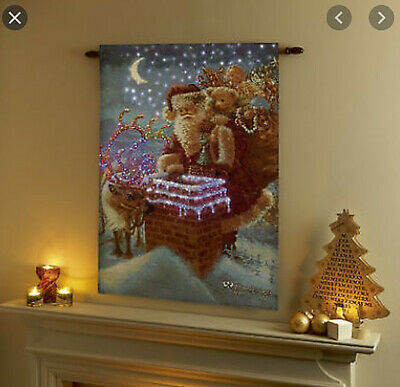 Fibre Optic Lit Tapestry Santa Reindeer Wall Christmas Decoration • 34.99£