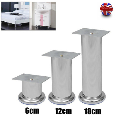4X Cabinet Sofa Legs Adjustable Stainless Steel Feet Round Stand Replacement Leg • 15.99£