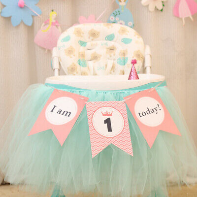AU5.95 • Buy  I Am One Today!  1st Birthday Highchair Bunting Pink Baby Girl First Birthday