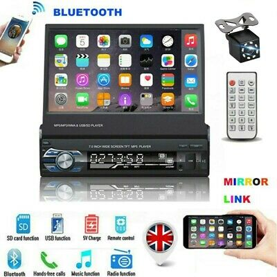 7 Inch Car Radio Stereo 1DIN Flip-Out Bluetooth Memory Card/USB/AUX With Camera • 62.99£