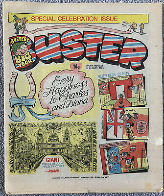 ROYAL WEDDING ISSUE! BUSTER Comic - 1st August 1981 - Charles Princess Diana • 1.99£