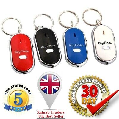 Whistle Lost Key Finder Flashing Beeping Locator Remote Chain LED Sonic Torch. • 2.29£