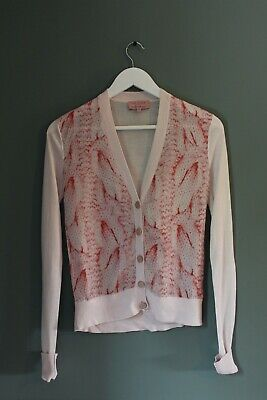 Ted Baker Womens Pink Cardigan Blouse With Snake Skin Print Size 6-8   • 19£