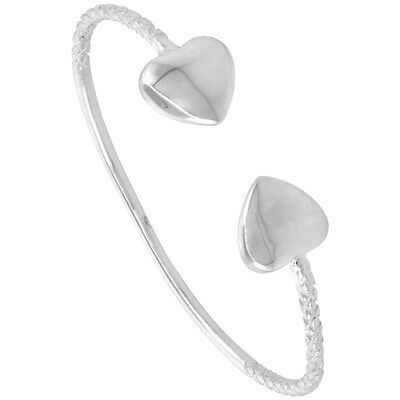 7  Sterling Silver West Indies Puffy Heart Bangle Bracelet • 38.71£