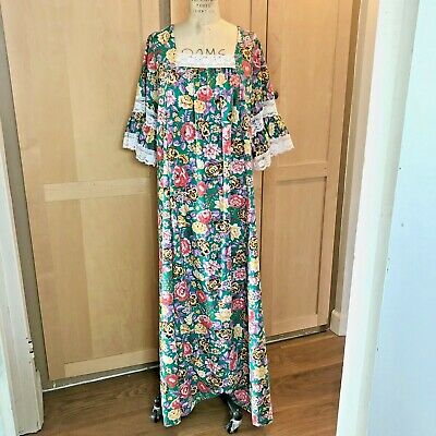 AU140.28 • Buy Vintage Prairie Maxi Dress Lace Angel Bell Sleeves Boho Clothing